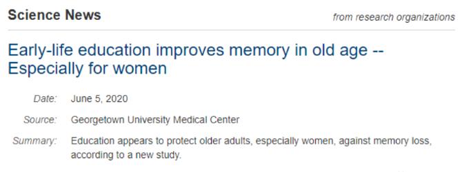 Science Daily:年轻时读书越多老年后记忆衰退越慢